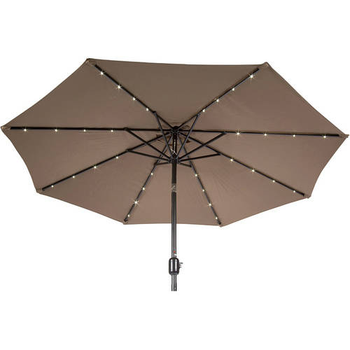 9' Deluxe Solar Powered LED Lighted Patio Umbrella, Tan by Outdoor Umbrellas
