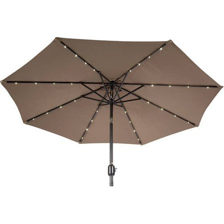 9 Deluxe Solar Powered Led Lighted Patio Umbrella  Tan