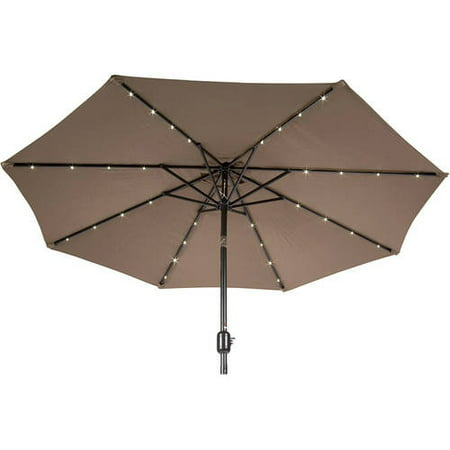 9' Deluxe Solar Powered LED Lighted Patio Umbrella, ... - 9' Deluxe Solar Powered LED Lighted Patio Umbrella, Tan - Walmart.com