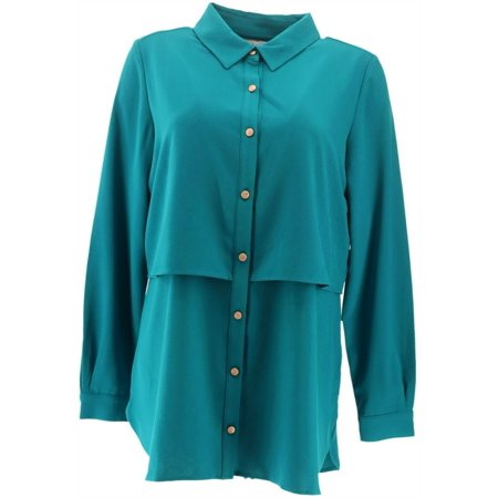 Susan Graver Stretch Woven Button Front Shirt Women's A293623 - image 1 de 5