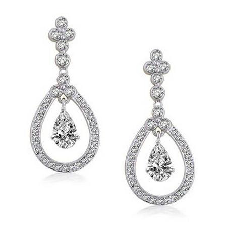 Bling Jewelry Double Teardrop CZ Chandelier Earrings Rhodium (Promo Drop)