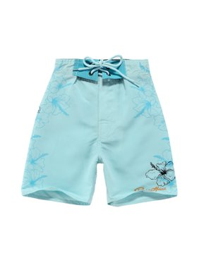 Boy Hawaiian Swimwear Board Shorts with Tie in Ice Blue with Floral Print 8 Year Old