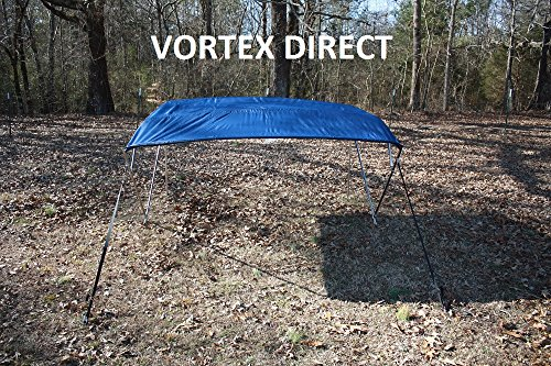 "NAVY BLUE (ACRYLIC) VORTEX STAINLESS STEEL FRAME 4 BOW PONTOON DECK BOAT BIMINI TOP 10' LONG, 91-96"" WIDE (FAST... by VORTEX DIRECT"