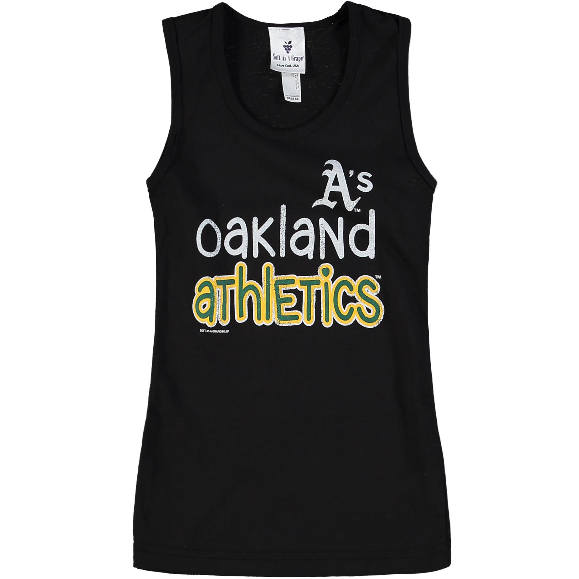 Oakland Athletics Soft as a Grape Girls Youth Curveball Tank Top - Black