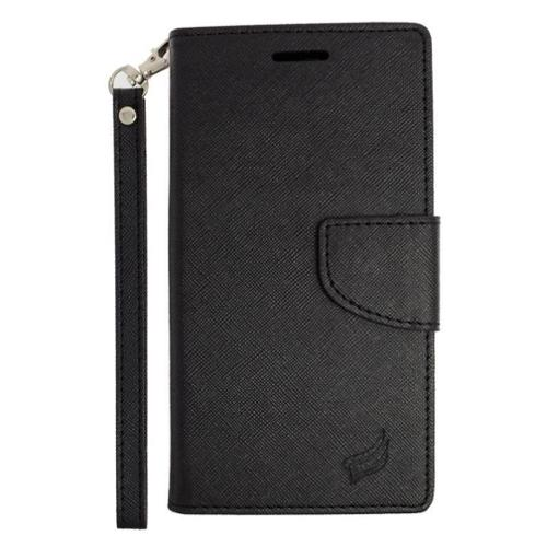 Insten Leather Wallet Case with Lanyard & Card Slot For Samsung Galaxy S6 Edge Plus - Black