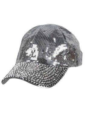 Womens Sequin Fashion Baseball Cap w/ Full Stoned Bill