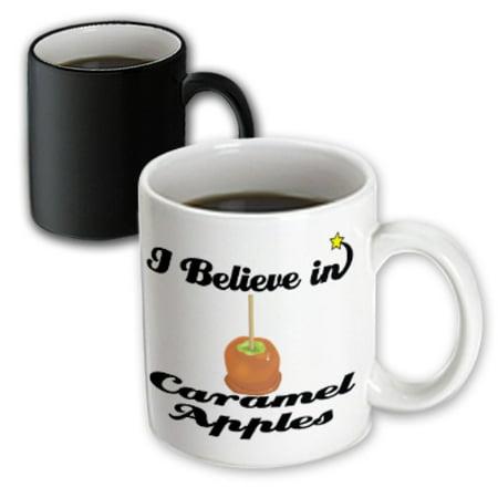 3dRose I Believe In Caramel Apples - Magic Transforming Mug, 11-ounce - Make Caramel Apples For Halloween