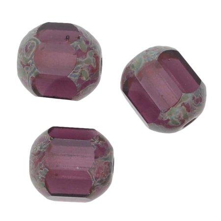 Glass Amethyst (Czech Glass Cathedral Window Beads 8mm 'Amethyst' (12))