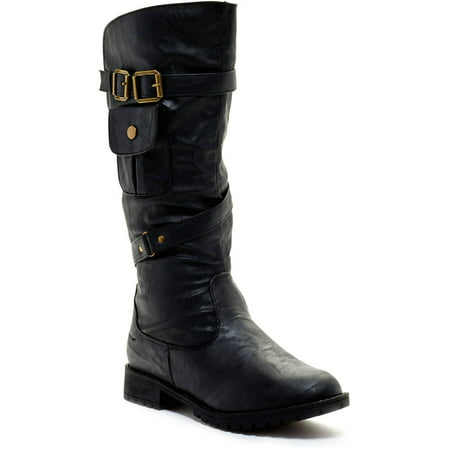 Carrini CA Collection Women's Fashion Buckle Pocket Boots