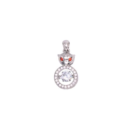 925 Silver Chipmunk/Squirrel Women's Pendant with White Crystal Inlay and Floating White Crystal (Inlay Rectangle Pendant)