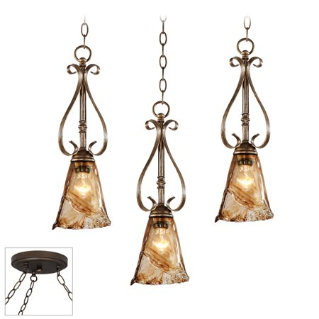 Franklin Iron Works Amber Scroll Bronze 3-Light Swag Chandelier