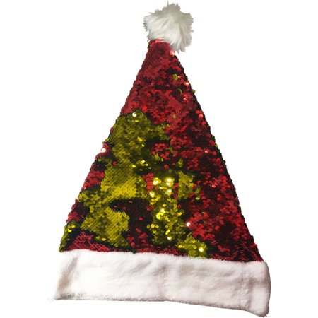 Christmas Red And Gold Flip Sequin Santa Hat Costume Accessory
