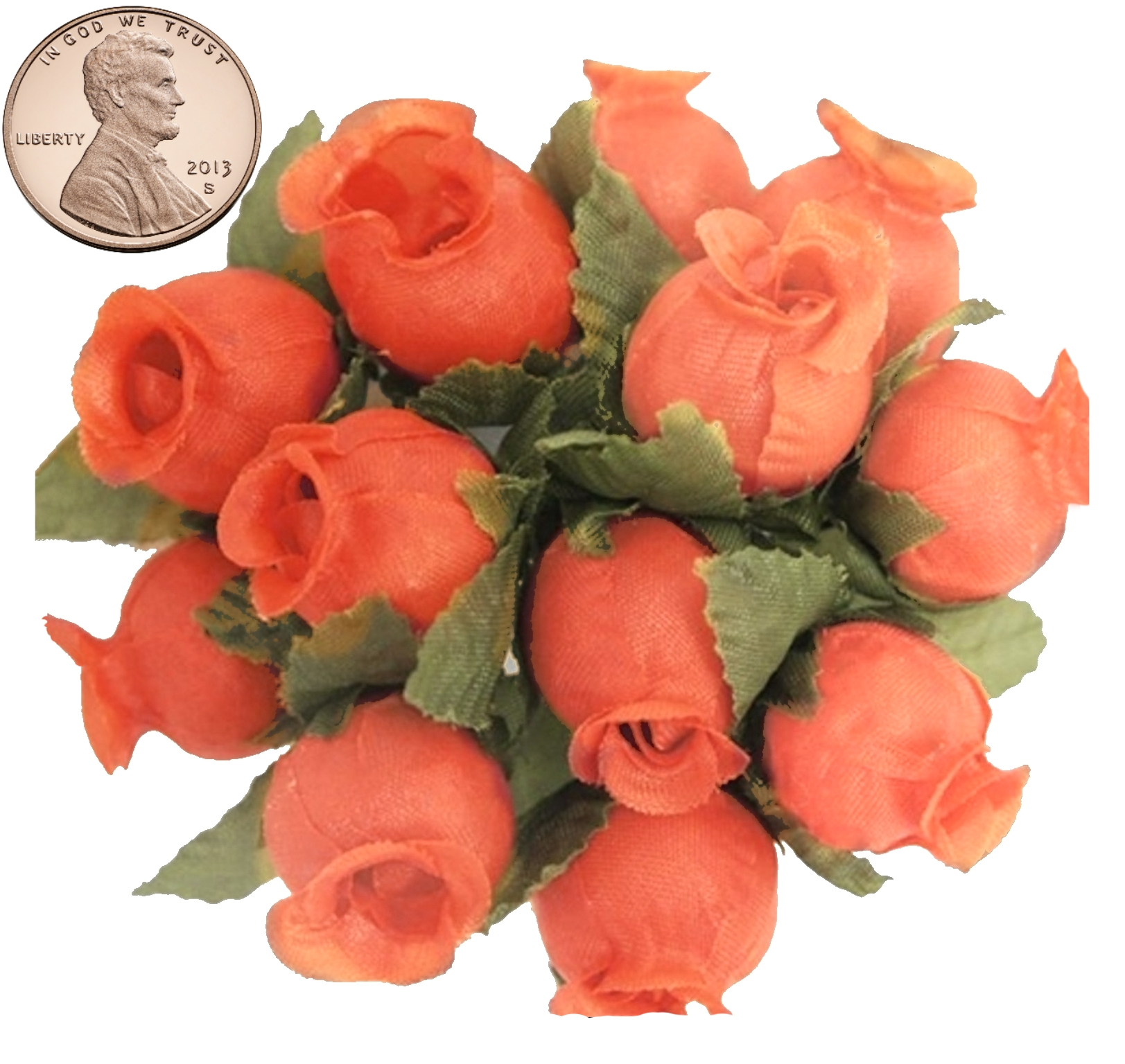 144 Miniature Poly Rose Silk Favor Flower Pick Wedding Shower - Coral