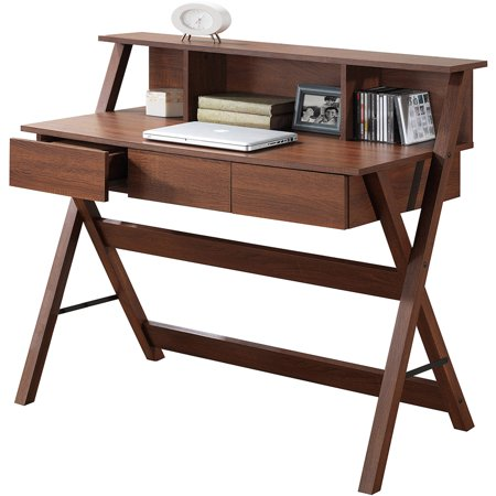 CorLiving Folio 3-Drawer Desk with Low-Profile Hutch, Multiple Colors
