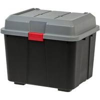 IRIS Hinged Lid Utility Storage Trunk, 16.9 Gallon, 4 Pack, Black