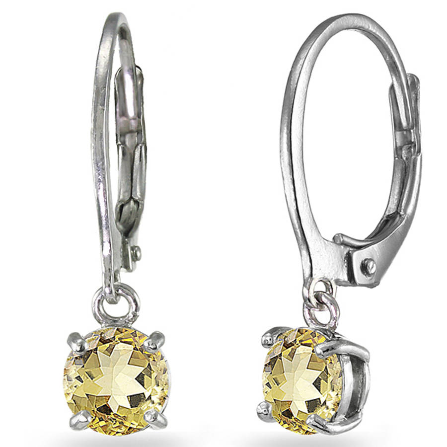 Citrine Sterling Silver 6mm Round Dangle Leverback Earrings