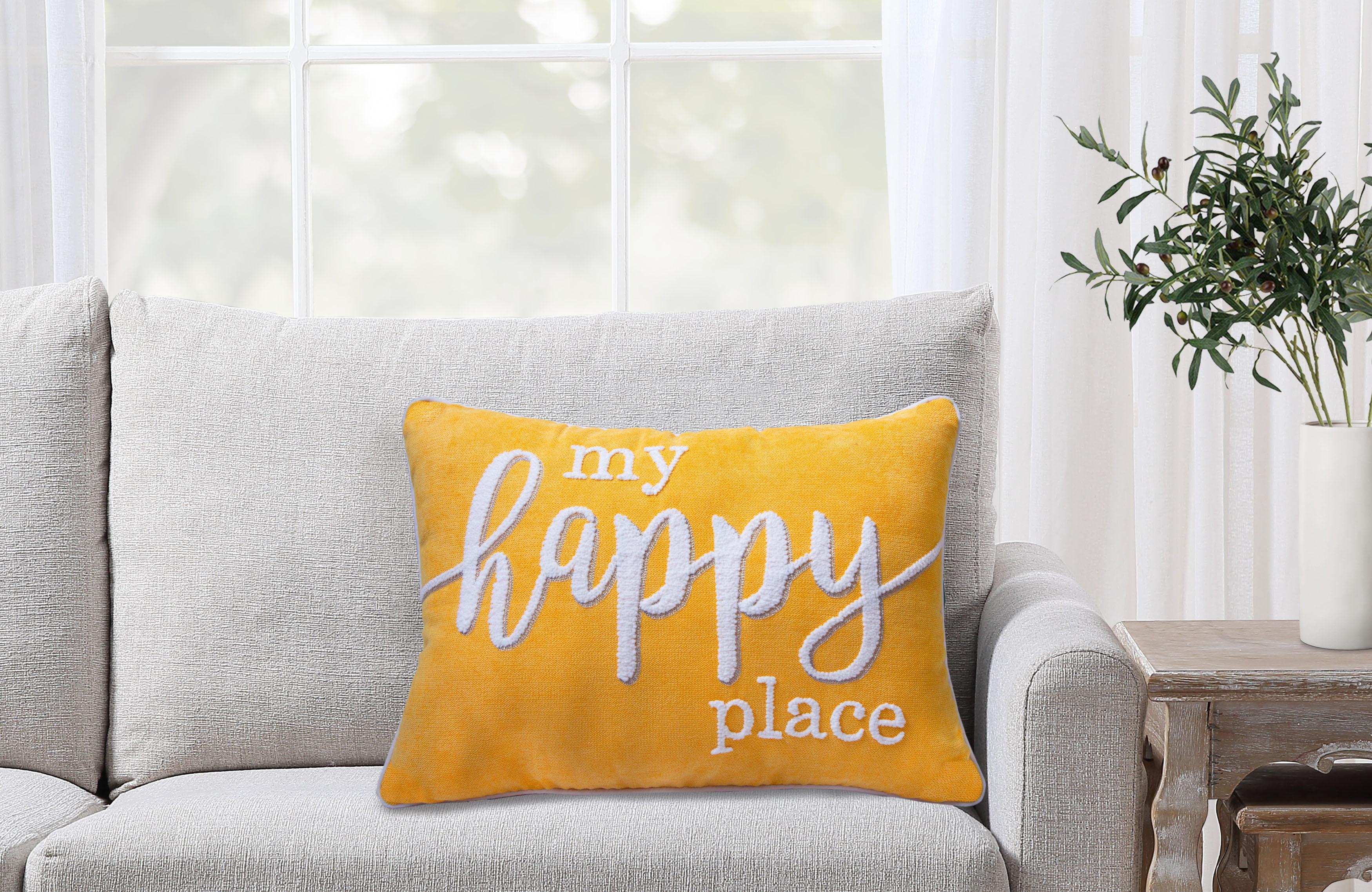Better Homes Gardens Decorative Throw Pillow My Happy Place Oblong Yellow 14 X 20 1pack Walmart Com Walmart Com