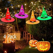 Halloween Decorations Outdoor Hanging Lighted Glowing Witch Hat, 36ft Halloween Lights String Battery Operated, Outdoor Halloween Decorations for Outdoor, Garden, Indoor, Yard, Tree, Party (4Pcs)