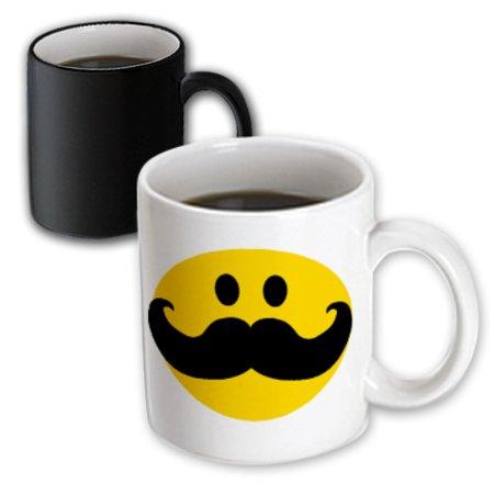 3dRose Yellow Smiley face with big black mustache - funny moustache - fun hipster fancy gentleman cartoon, Magic Transforming Mug, 11oz - Big Yellow Smiley Face