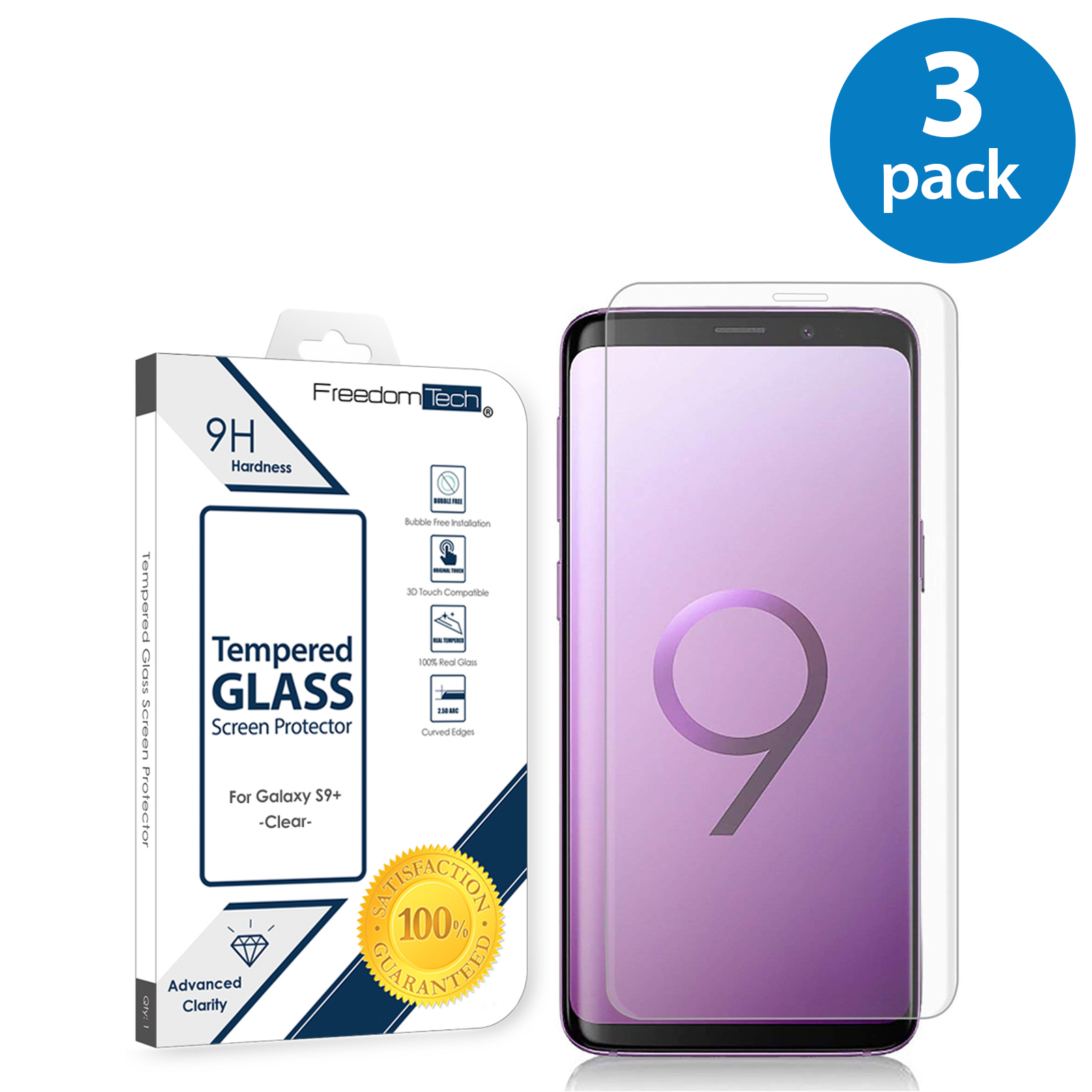 3x Samsung Galaxy S9 Plus Screen Protector Glass Film Full Cover 3D Curved Case Friendly Screen Protector Tempered Glass for Samsung Galaxy S9 Plus Clear