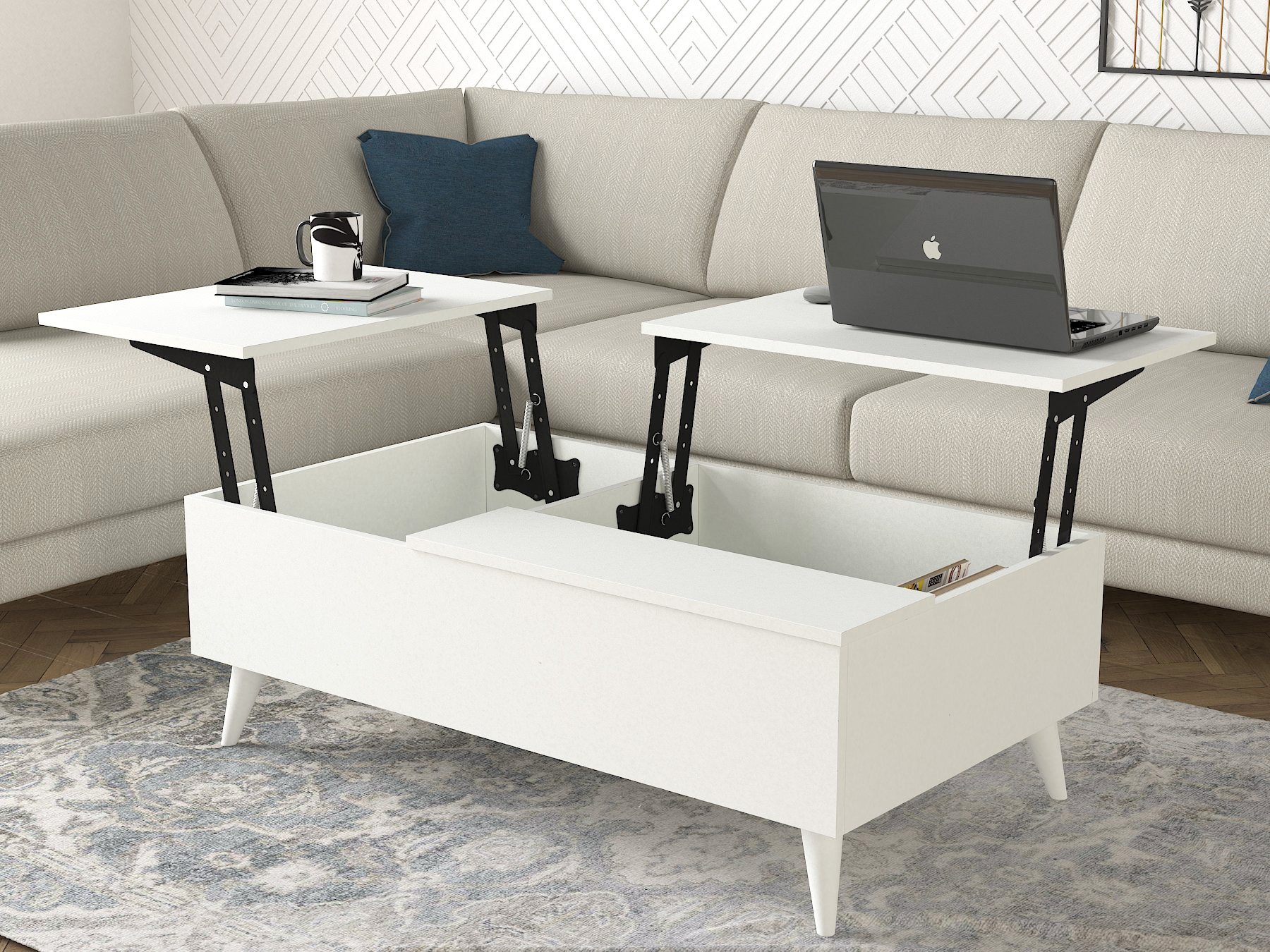 Sayre Blair Lift Top Coffee Table White Durable Environment Friendly Material Pvc Edge Banding Walmart Com Walmart Com