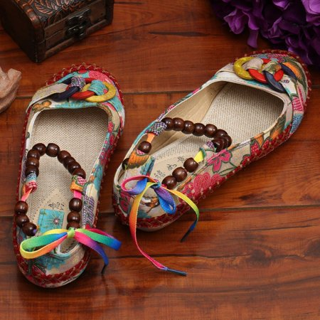 Beaded Lace Manual Beijing Shoes Asakuchi Breathable Shoes Women Single Shoes - image 5 de 10