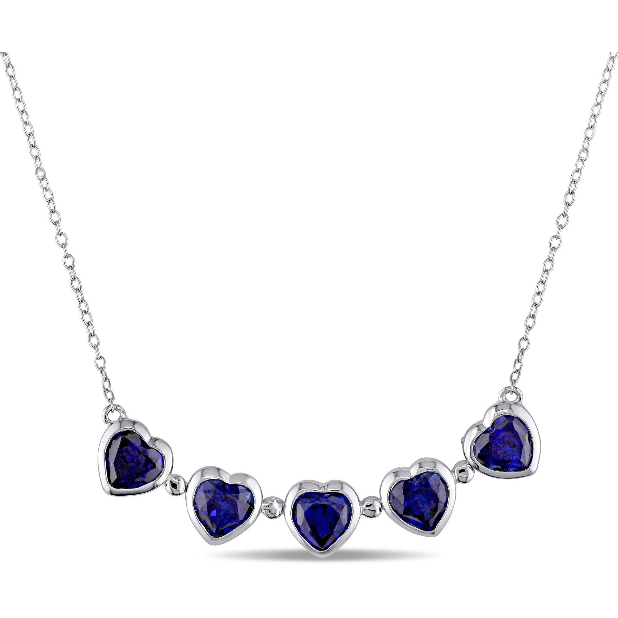 "Tangelo 4-1 2 Carat T.G.W. Created Blue Sapphire Sterling Silver Vintage Multi-Heart Necklace, 18"" by Tangelo"