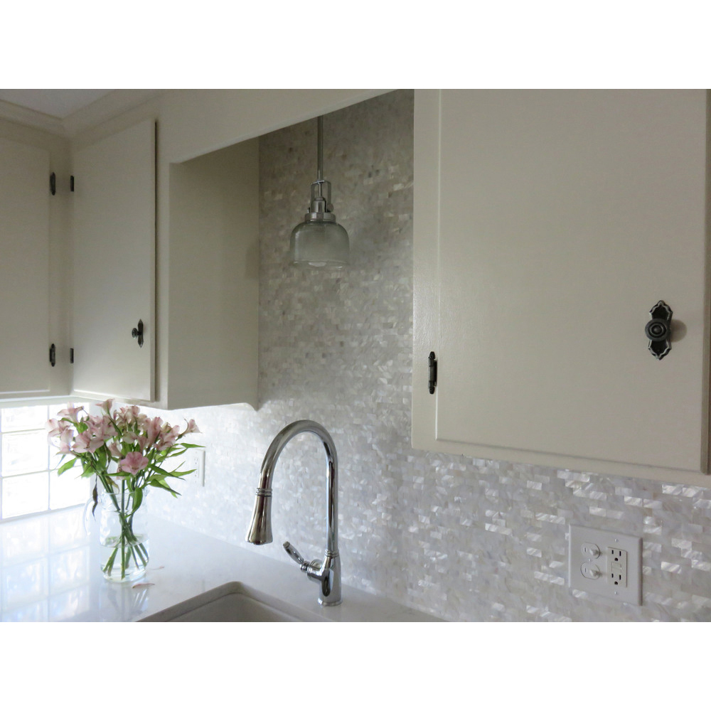 Art L And Stick Kitchen Backsplash Tile Mother Of Pearl Shell Mosaic 12 X White Subway Self Adhesive 1 Piece
