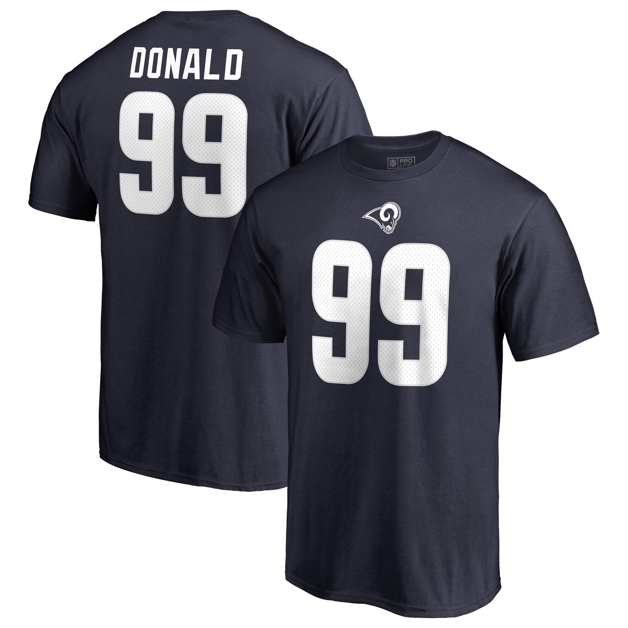 online store e1091 78851 Aaron Donald Los Angeles Rams NFL Pro Line by Fanatics Branded Team  Authentic Stack Name & Number T-Shirt - Navy