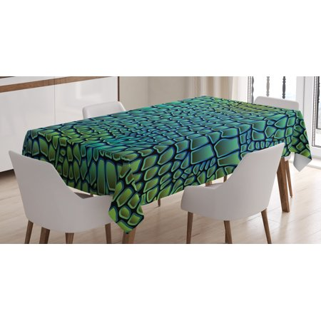 (Abstract Tablecloth, Alligator Skin African Animal Crocodile Reptile Safari Wildlife Vibrant Artwork, Rectangular Table Cover for Dining Room Kitchen, 52 X 70 Inches, Green Blue, by Ambesonne)