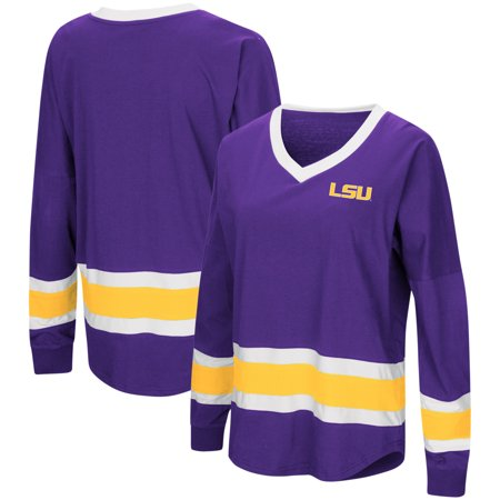 LSU Tigers Colosseum Women's Marquee Players Oversized Long Sleeve V-Neck Top - Purple ()