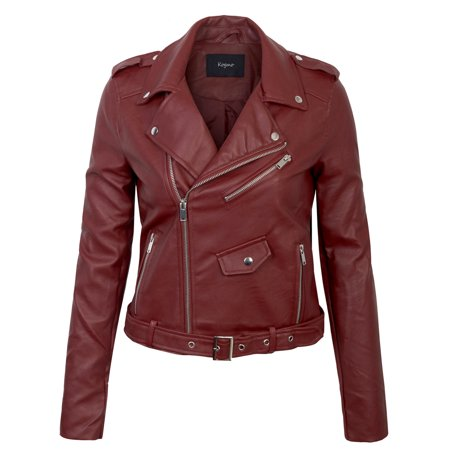 KOGMO Womens Double Breasted Faux Leather Zip Up  Jacket with Belt](Leather Jacket Kids)
