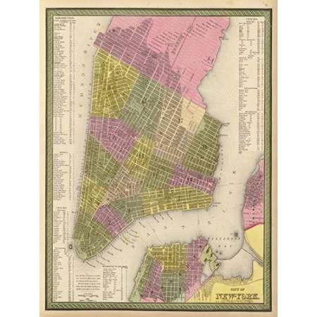 Vintage NYC Map Poster Print by N Harbick (18 x 24) - Nyc Halloween Parade Map