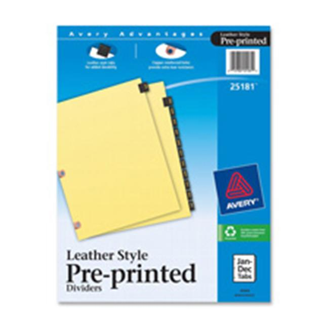 Avery Consumer Products Leather Tab Dividers- Jan-Dec- 12 Tab . 50inch- Buff