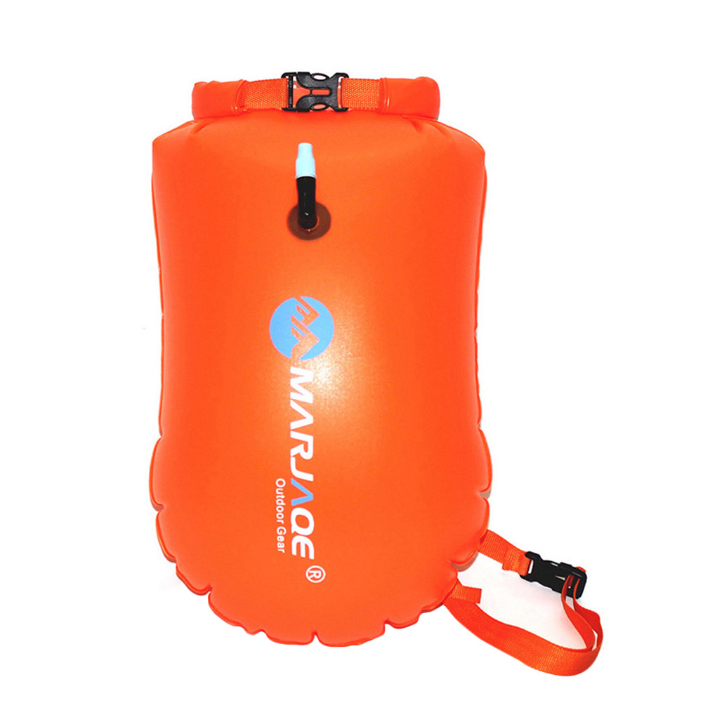 Inflatable Swim Buoy Safety Float Waterproof Air Dry Bag Open Water Swimming .