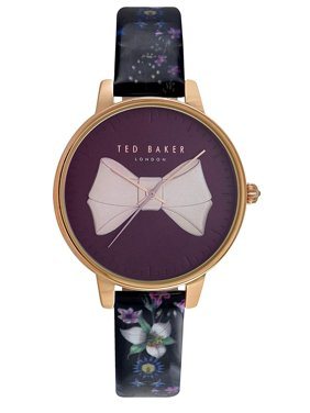 Ted Baker Brook 38mm Bow Dial Floral Black Leather Women's Watch TE50533003