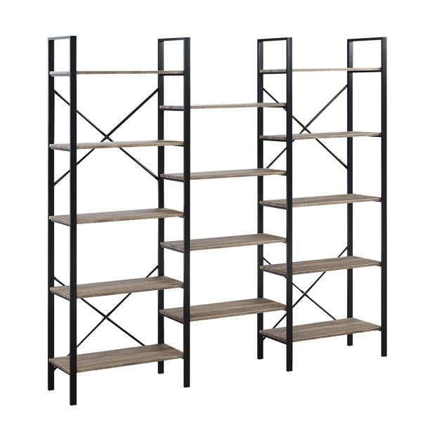 Abington Lane Double-Wide Bookshelf - Provides a Stylish Look to Your Home - 5-Tiered Ample Storage Space - Perfect Match for Your Room - (Faded Hickory Finish)