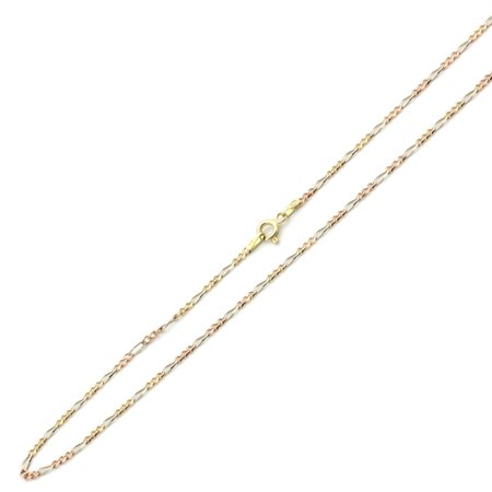 14K Tri-color Gold Chain 2mm Concaved Pave Figaro Chain Necklace (16, 18, 20, 22, 24 Inches)