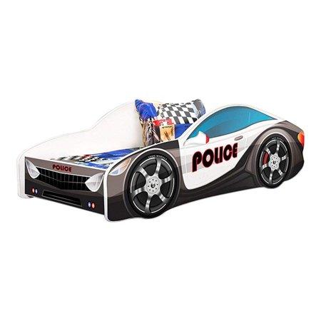 Kids Twin Size Platform Bed Frame Cop Police Car Bed Design Black