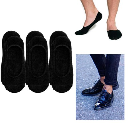 3 Mens Loafer Foot Cover Ankle Socks Invisible Boat Liner Low Cut Black 10-13
