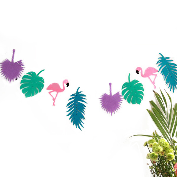 Flamingo Party Banner Non-woven Fabric Garland Banner for Birthday Party Festival Decoration