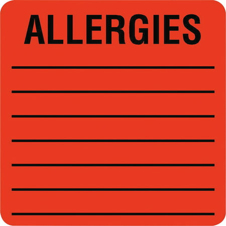 2.125 Squares - Tabbies, TAB40560, Square ALLERGIES Labels, 500 / Roll, Fluorescent Red