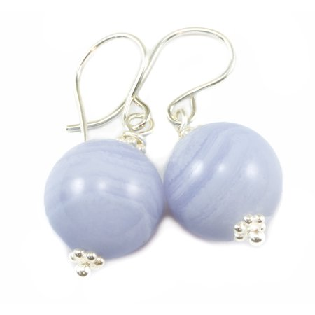 Lace Blue Agate Earrings Smooth Cut Round Drops Natural Striping Sterling Silver