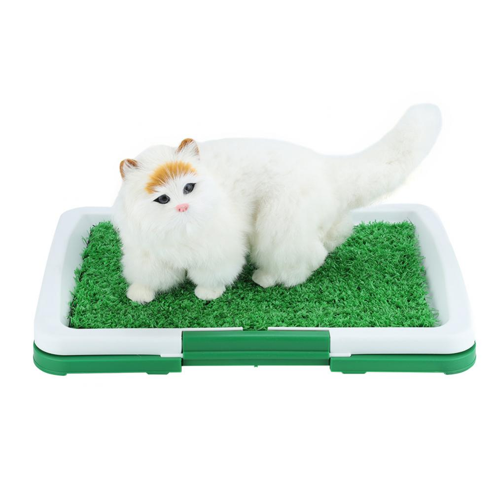 Ashata Dog Pet Potty Mat Grass Pad with Mesh+Collection Tray Home Indoor Restroom Toilet Pee Training, Pet Toilet,Pet Potty Mat