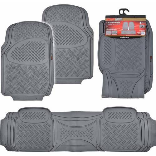Motor Trend Premium Odorless Floor Mats, Heavy-Duty Grid Diamond Pattern 3-piece For Large Cars, SUVs and Trucks