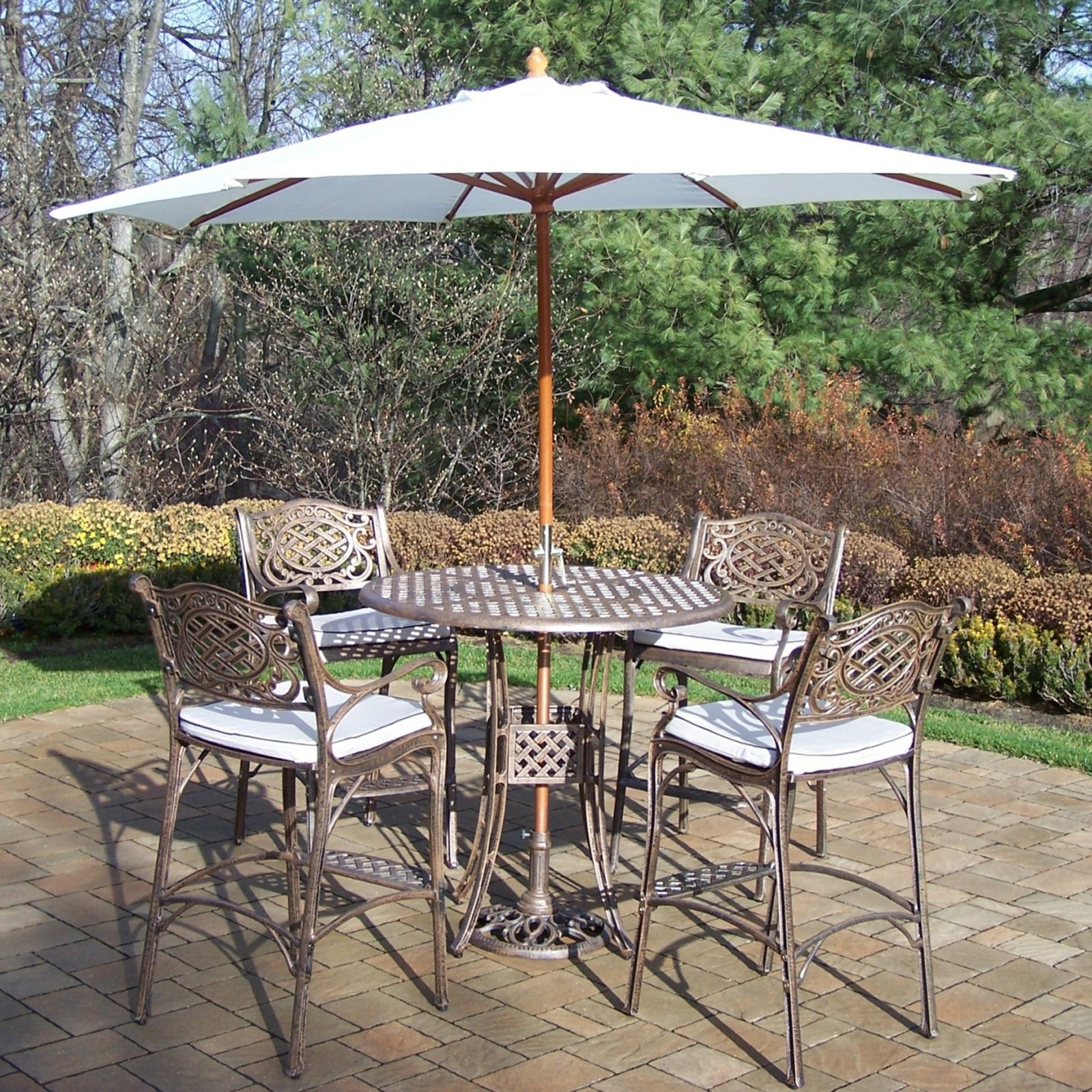Oakland Living Elite Mississippi Cast Aluminum 5 Piece Patio Bar Set With  Cushions Plus Umbrella And Stand   Walmart.com