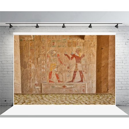 GreenDecor Polyster Egyptian Wall Painting Background 7x5ft Photography Background Hatshepsu Temple Nile Egypt Hieroglyphics Stone Wall Color Carving Mural Photographic Decoration Party Event Backdrop - Stone Wall Background