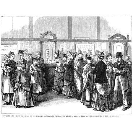 Irish Immigrants 1880 Nirish Immigrants Withdrawing Money From The Emigrant Savings Bank In New York To Send Help To Relatives In The Old Country Wood Engraving From An American Newspaper Of 1880 Roll
