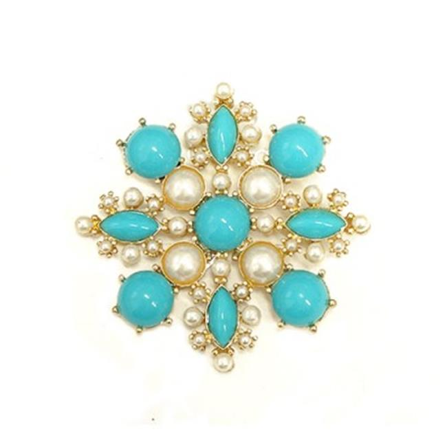 C Jewelry Turquoise And Pearl Bead Blossom Flower Gold Pin by C Jewelry