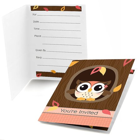 Owl Girl - Fill In Baby Shower or Birthday Party Invitations (8 count) - Owl Birthday Party
